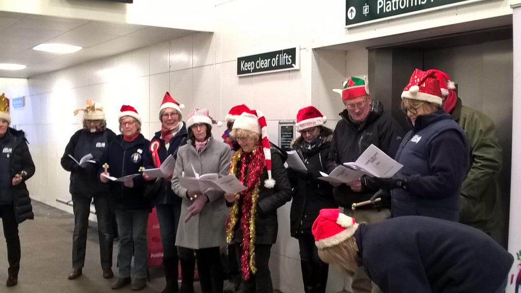 CMRDA carol singers at Haywards Heath station December 2017